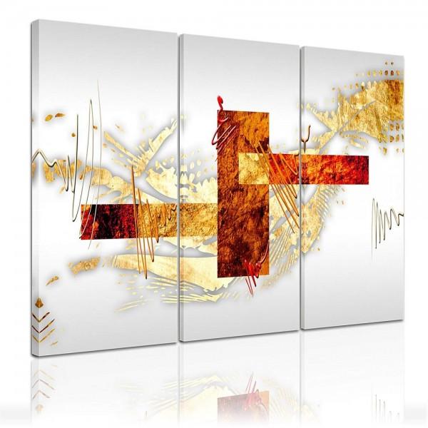 SALE Leinwandbild - Moderne Kunst in Bronze und Gold - 90x60 cm 3tlg