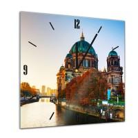 Glasuhr - Berliner Dom im Sonnenuntergang - 40x40cm