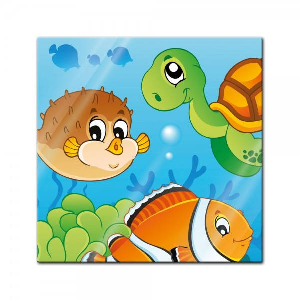 Glasbild - Kinderbild Unterwasser Tiere V