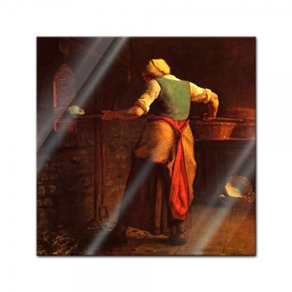 Glasbild Jean-François Millet - Alte Meister - Frau beim Brotbacken