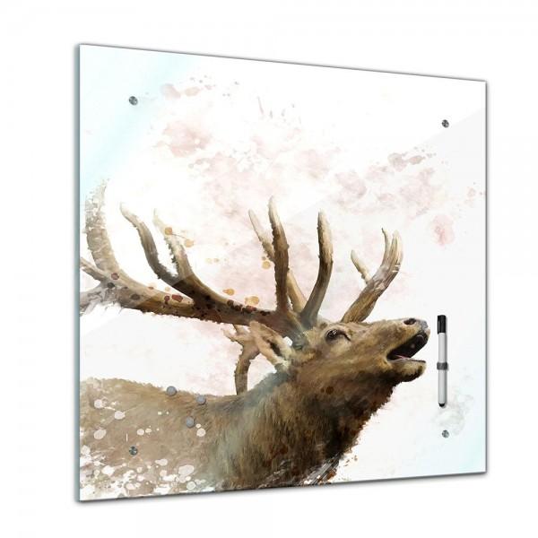 Memoboard - Tiere - Hirsch Aquarell - 40x40 cm