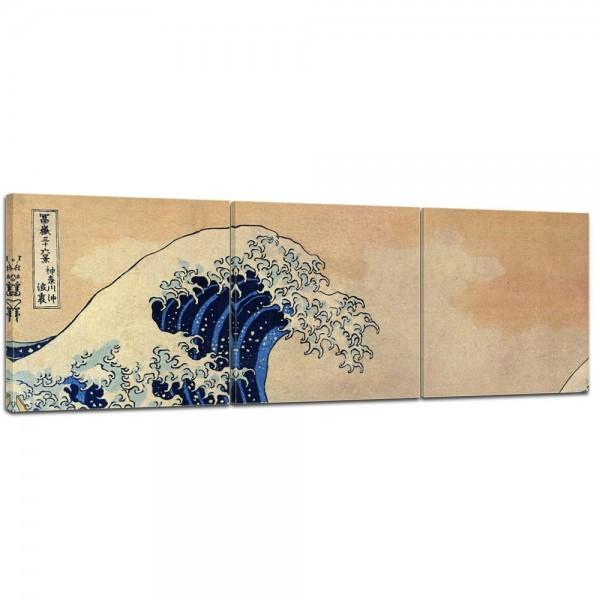 SALE Leinwandbild - Katsushika Hokusai Die große Welle vor Kanagawa - 90x30 cm 3tlg