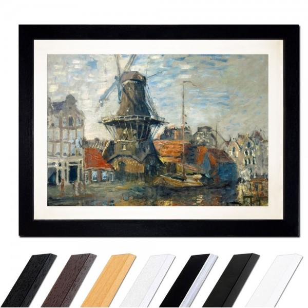 Claude Monet - Windmühle am Onbekende Kanal, Amsterdam