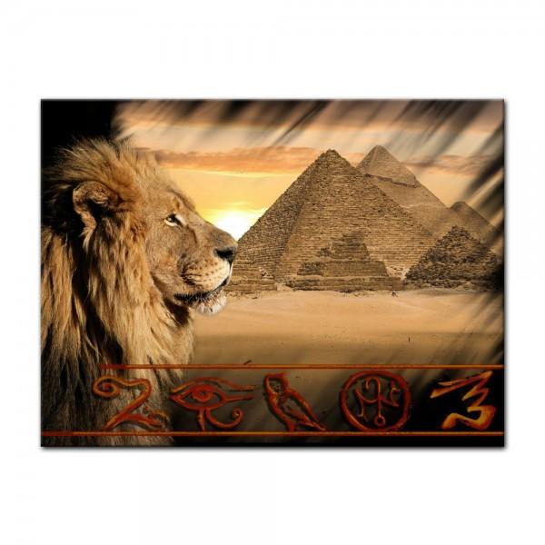 Leinwandbild - Löwe Pyramiden