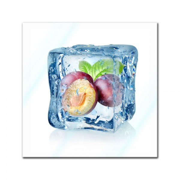 Glasbild - Eiswürfel Pflaume