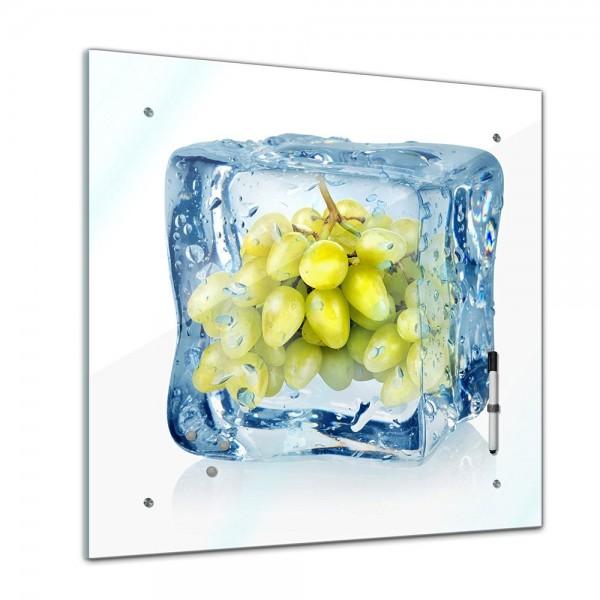 Memoboard - Essen & Trinken - Eiswürfel grüne Weintrauben - 40x40 cm