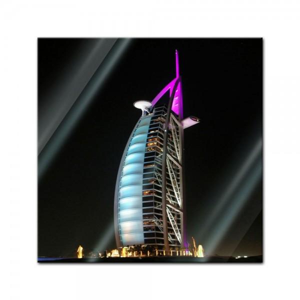 Glasbild - Burj al Arab bei Nacht