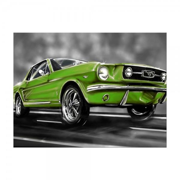 Leinwandbild - Mustang Graphic - grün