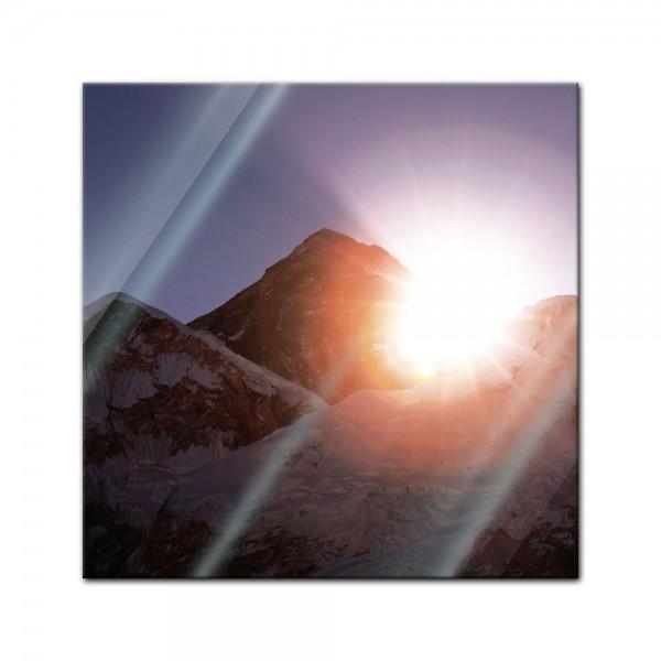 Glasbild - Mount Everest Sonnenstrahlen