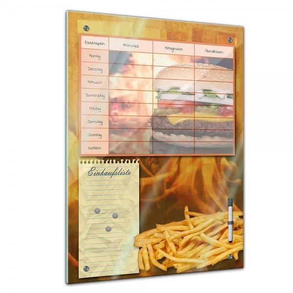 Memoboard - Familien Essensplaner - Burger und Pommes