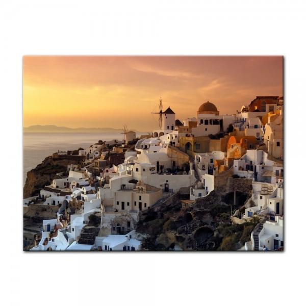 Leinwandbild - Santorini im Abendrot
