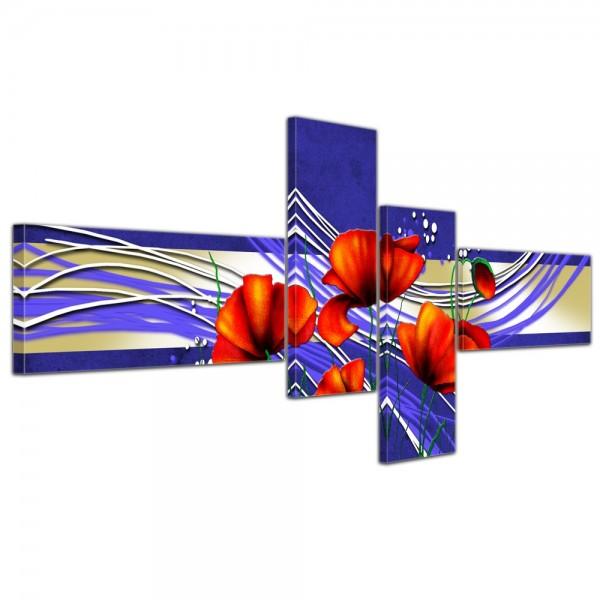 Leinwandbild - Abstrakte Kunst Mohn - 200x90cm 4 teilig