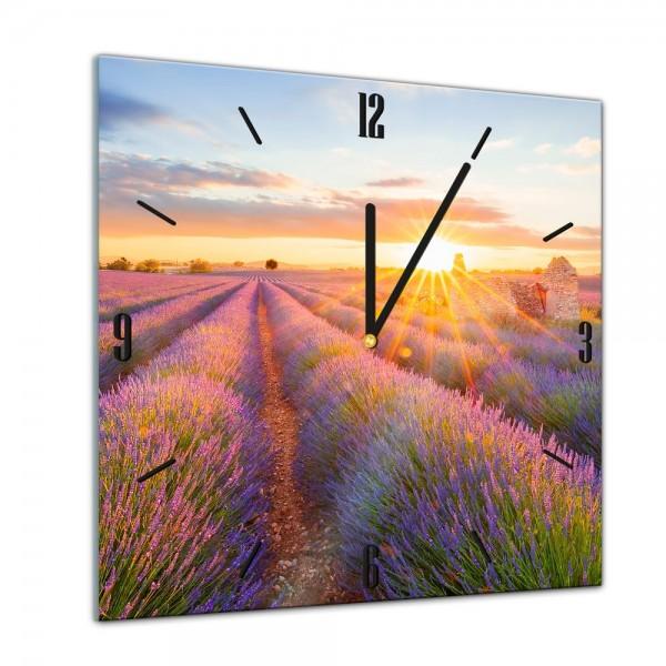 Glasuhr - Sonne, Strand und Meer - Lavendelfeld - Südfrankreich - 40x40cm
