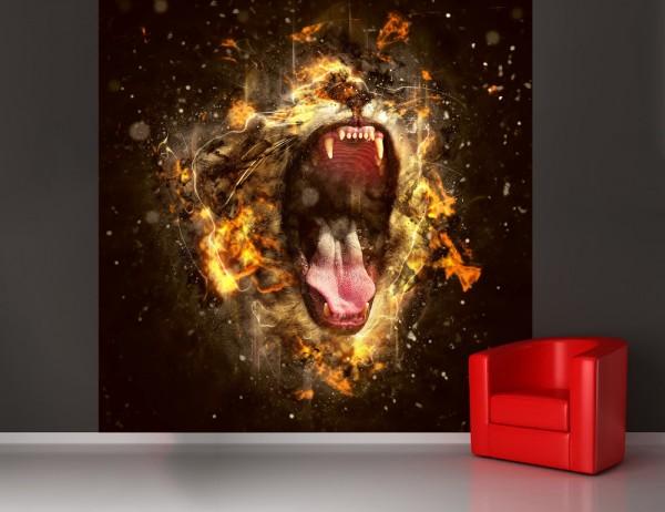 selbstklebende Fototapete - Brüllender Löwe