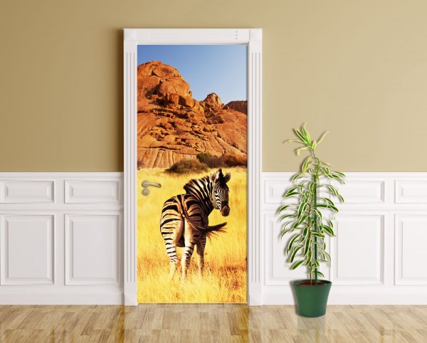 Türaufkleber - Zebra vor einem Gebirge