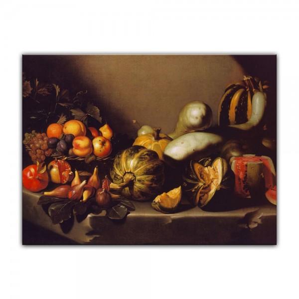 Leinwandbild - Caravaggio - Stillleben mit Fruchtschale