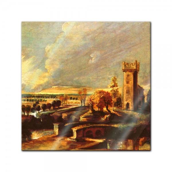 Glasbild Peter Paul Rubens - Alte Meister - Landschaft mit dem Turm des Schlosses Steen