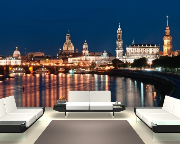 Fototapete Dresden Skyline bei Nacht - Deutschland