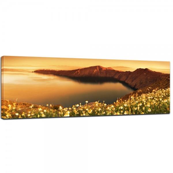 SALE Leinwandbild - Sonnenaufgang über Santorini - Griechenland - 160x50 cm