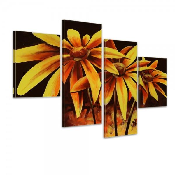 SALE Blume M1 - Leinwandbild 4 teilig 120x80cm Handgemalt