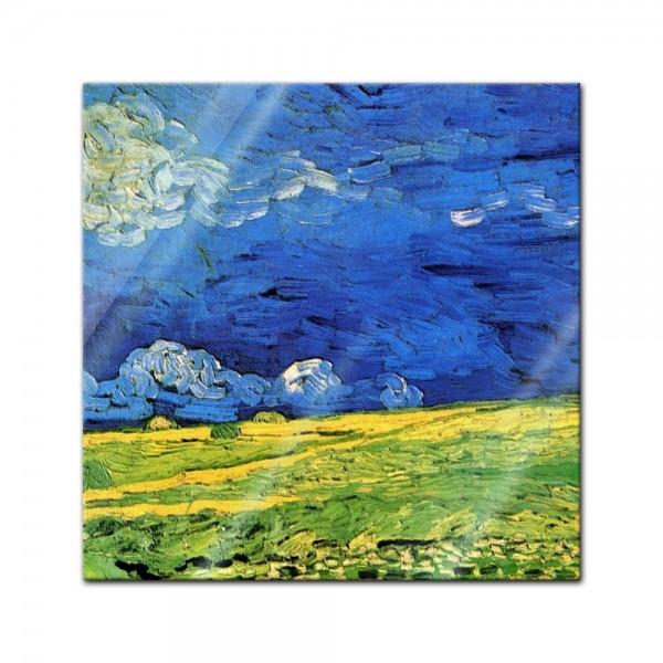 Glasbild Vincent van Gogh - Alte Meister - Weizenfeld unter einem Gewitterhimmel -
