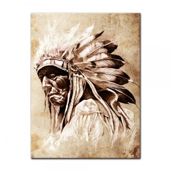Leinwandbild - Indianer im Vintage Style