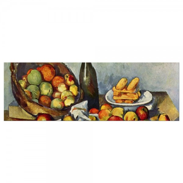 Leinwandbild - Paul Cézanne - Stillleben mit Flasche und Apfelkorb