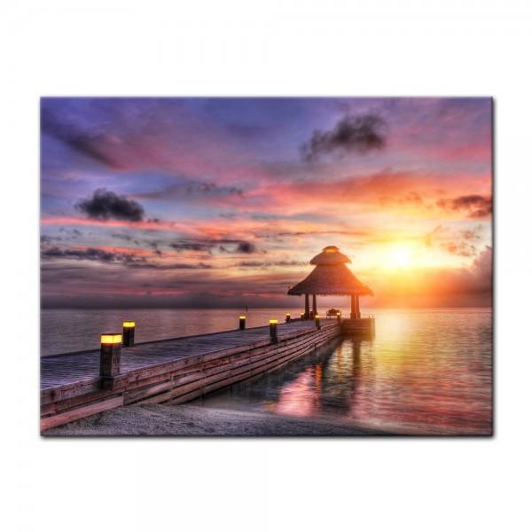 Leinwandbild - Sunset over Maledives - Sonnenuntergang über den Malediven