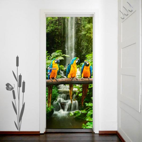 Türaufkleber Blau-Gelber Macaw Papagei