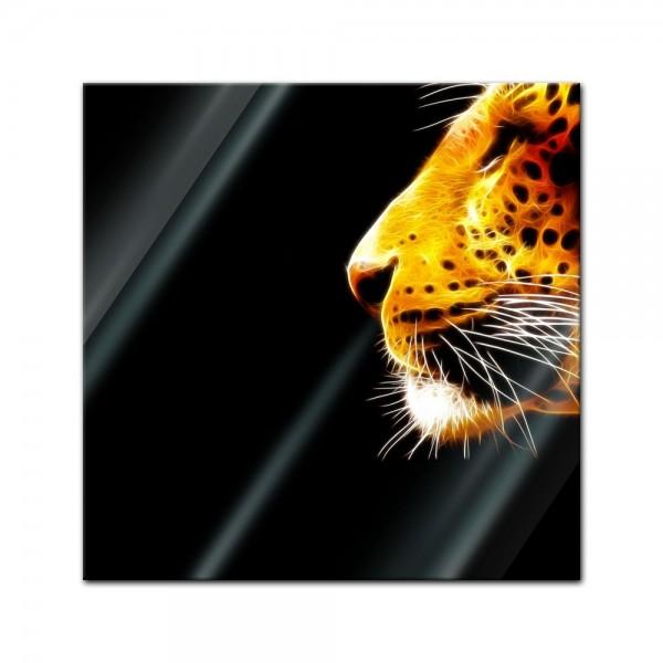 Glasbild - Leopard Neon