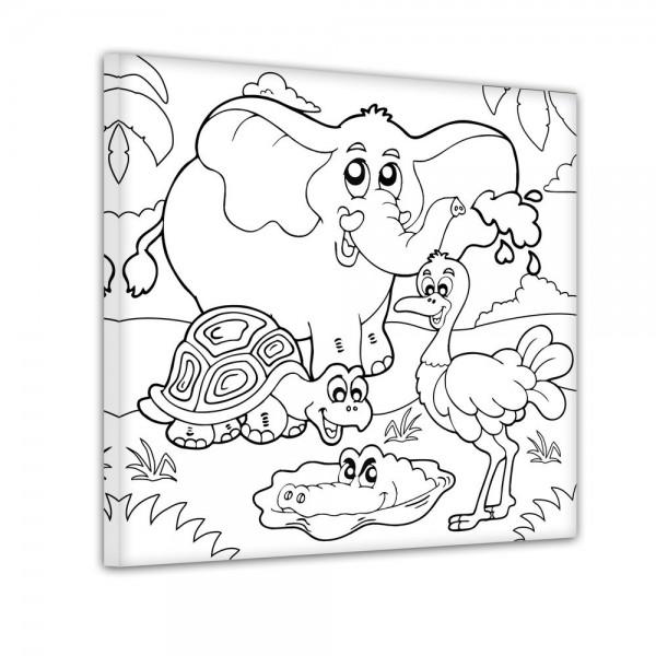 Elefant Schildkröte Strauß und Krokodil - Ausmalbild