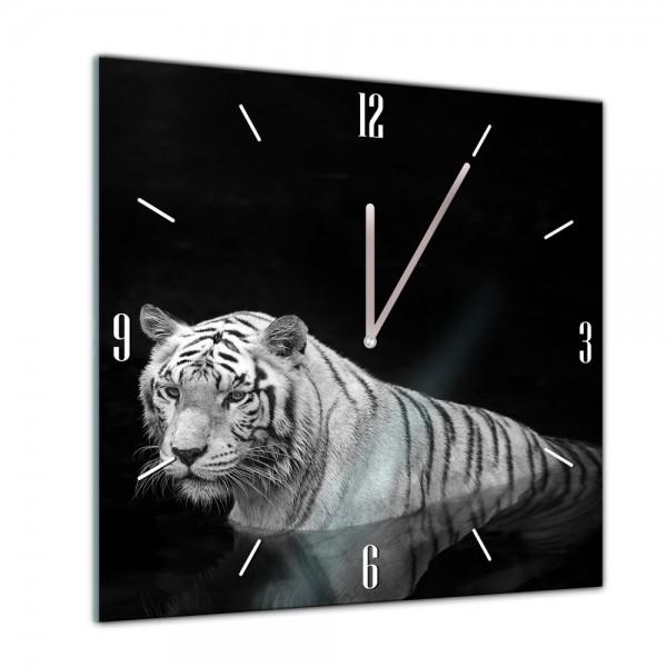 Glasuhr - Tiere - Tiger im Wasser - 40x40cm