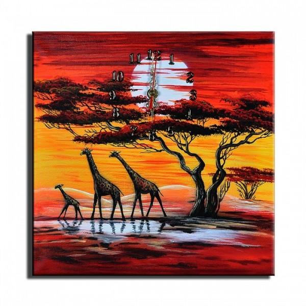 Wanduhr Leinwand Giraffen D 06