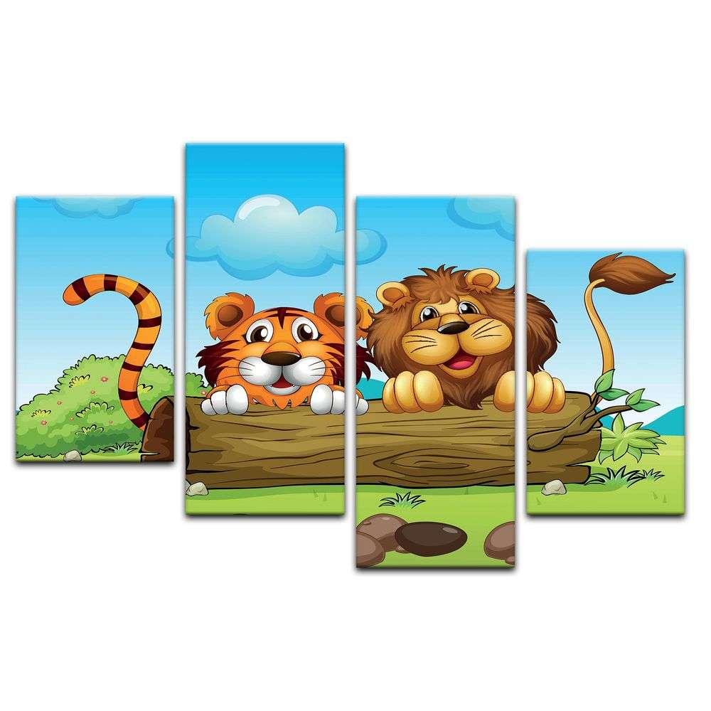 Leinwandbild - Kinderbild - Löwe und Tiger Freundschaft