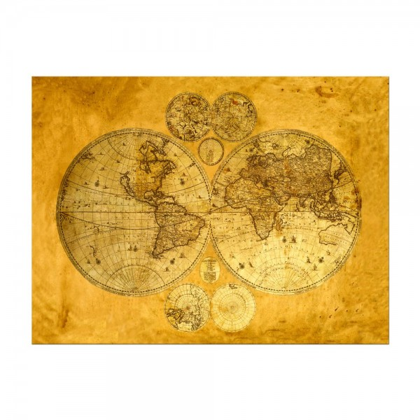 Leinwandbild - Weltkarte auf altem Papier