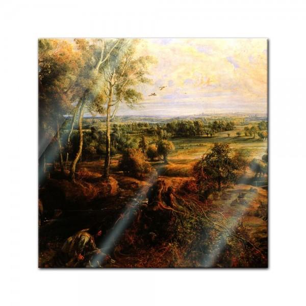 Glasbild Peter Paul Rubens - Alte Meister - Landschaft mit Ansicht von Schloss Steen