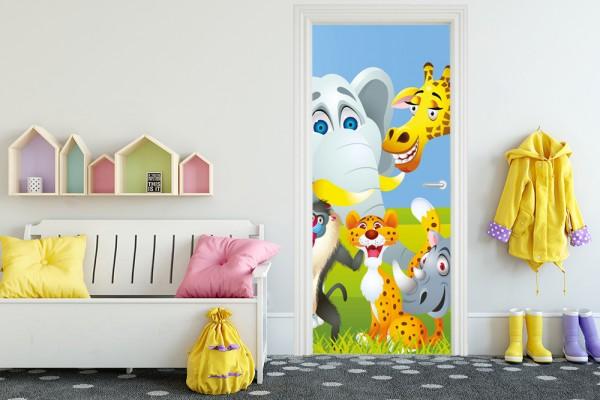 Türaufkleber - Kinderbild Tiere Cartoon IV