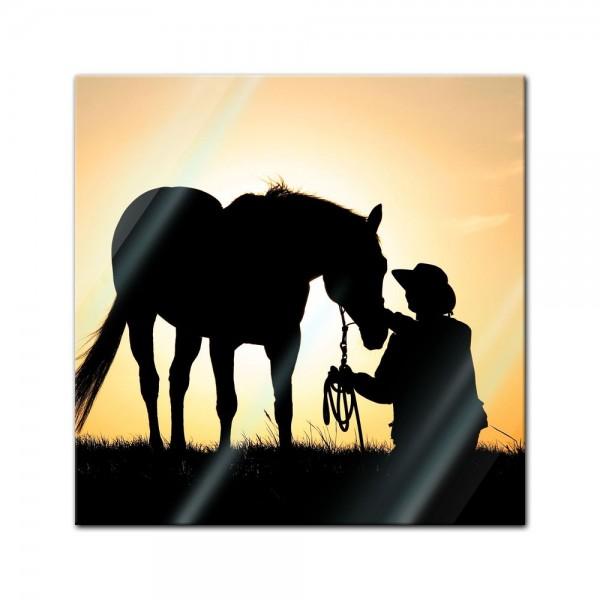 Glasbild - Pferd mit Cowboy
