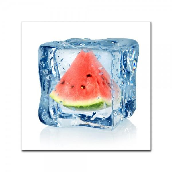 Leinwandbild - Eiswürfel Wassermelone