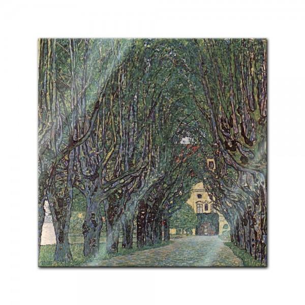 Glasbild Gustav Klimt - Alte Meister - Weg im Park von Schloss Kammer