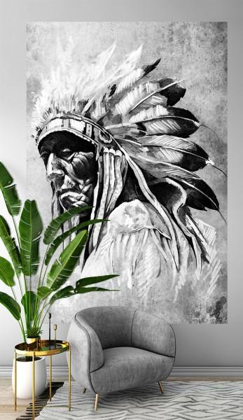 SALE Fototapete - Indianer mit Federschmuck - 150 cm x 225 cm - schwarz weiß