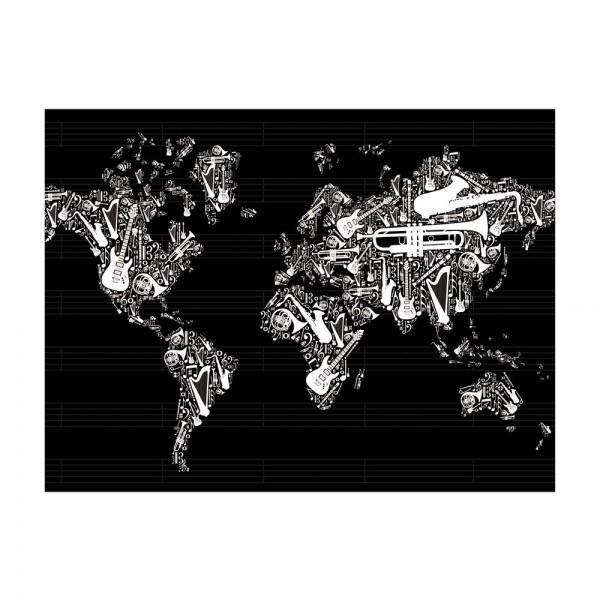Leinwandbild - Weltkarte Musik