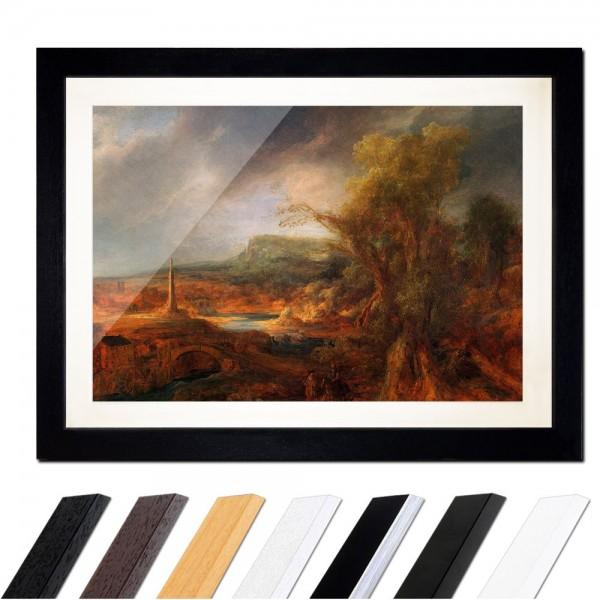 Rembrandt - Landschaft mit Obelisk