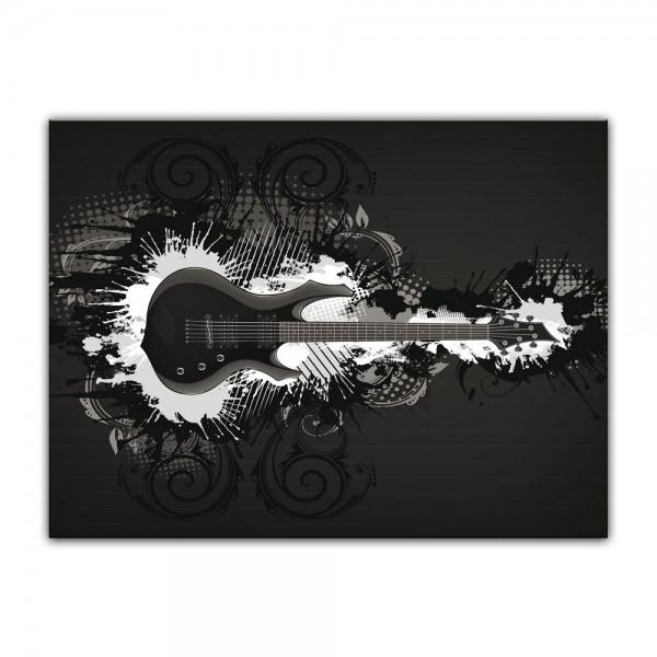 Leinwandbild - E-Gitarre Illustration - sw