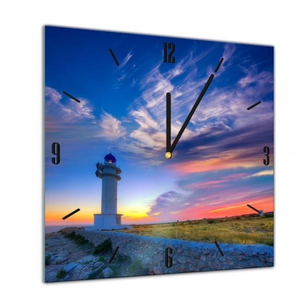 Glasuhr - Sonne, Strand und Meer - Leuchtturm - Formentera - 40x40cm