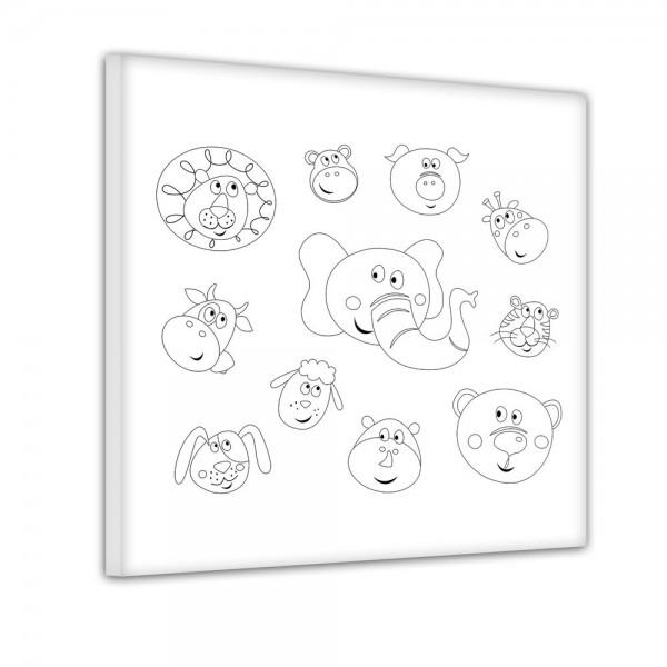 Lustige Tierköpfe - Ausmalbild