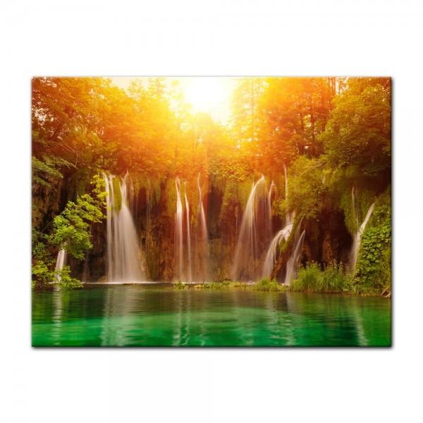 Leinwandbild - Wasserfall, Plitvice Kroatien