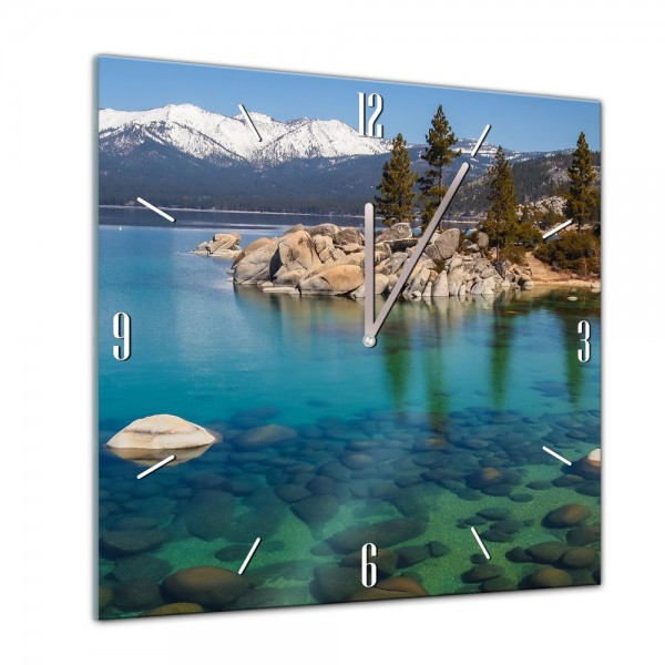 Glasuhr - Städte, Seen & Landschaften - Lake Tahoe - USA - 40x40cm