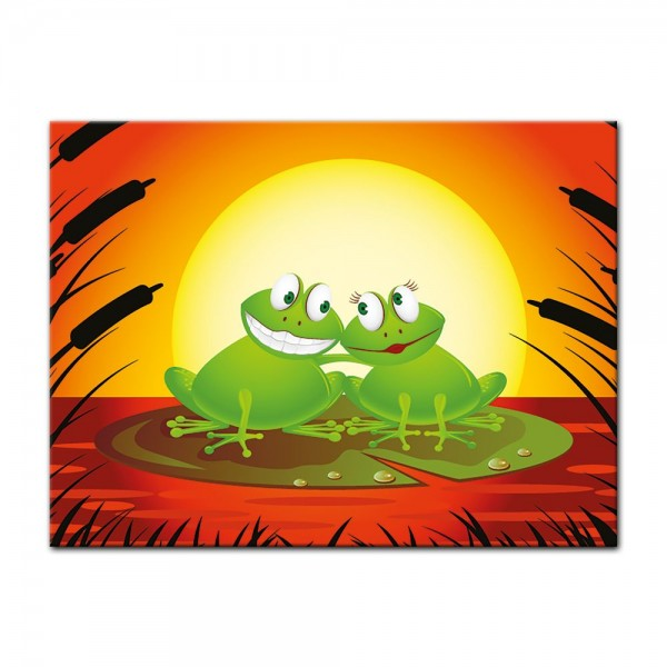 Leinwandbild - Kinderbild - Verliebter Frosch Cartoon