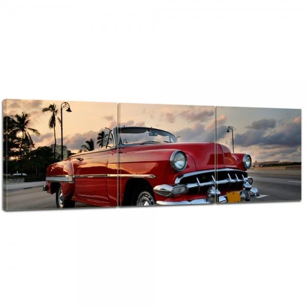 SALE Leinwandbild - Roter Oldtimer in Havanna - 120x40 cm 3tlg - farbig